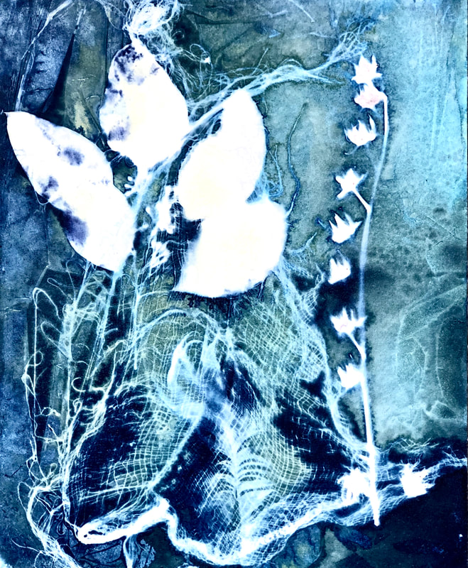 blossoms cyanotype on handmade Japanese gampi paper