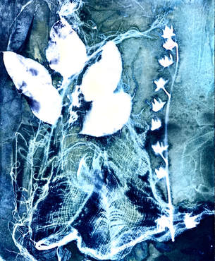 Autumn Plants Cyanotype